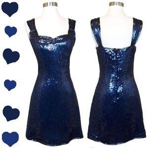 Vintage 80s 90s Blue SEQUIN Party Prom Dress M